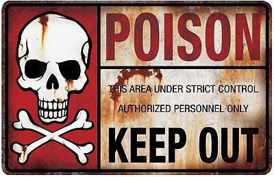 Poison Keep Out Zombie Metal Sign Halloween Decoration Prop NEW (Halloween Keep Out Sign)