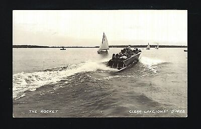 Open up Lake Iowa IA 1944 RPPC THE ROCKET Wooden Speed Boat, FAST Trip, Sail Boats
