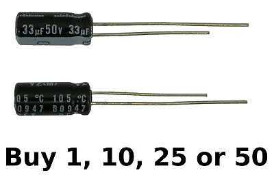 Nichicon 33uf 33ufd 50v Volt 105 Degree Hi Temp Radial Electrolytic Capacitor