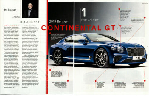 2019 BENTLEY CONTINENTIAL GT 626 HP ~ NICE 5-PAGE ARTICLE / AD