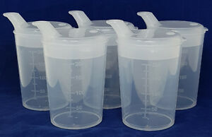 5 x Clear Elderley Adult Drinking Beaker Cups 250ml Wide 12mm x 10mm Spout Lids