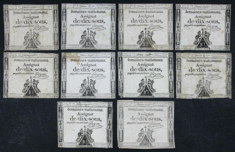 FRANCE - Lot Set of 10 Notes: 10 Sous Domaines Nationaux Assignat 1792 P A53 VG
