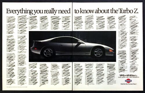 """1991 Nissan Turbo Z Coupe photo """"Everything You Need to Know"""" 2-page print ad"""