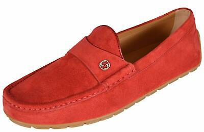 NEW Gucci Mens 386587 RED Suede Interlocking GG Logo Drivers Loafers Shoes