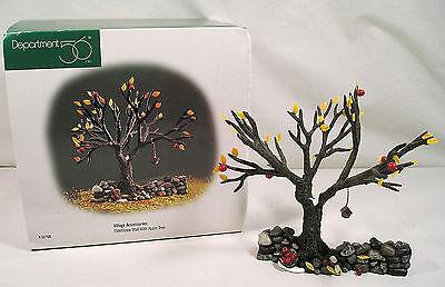 Dept. 56 Village Accessories, Fall Autumn Fieldstone Wall Apple Tree Bird House