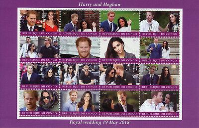 Congo 2017 CTO Prince Harry & Meghan Royal Wedding 2018 16v M/S Royalty Stamps
