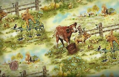 Barnyard Babies farm animals cows pigs ducks Spectrix  fabric - Barnyard Animals