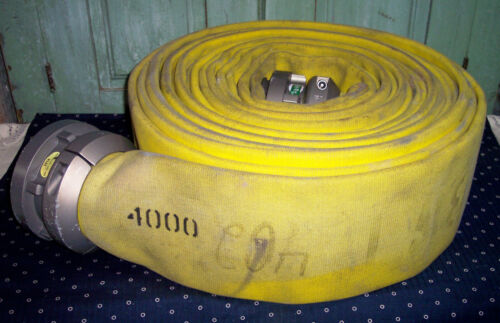 """Vintage Fire Department Yellow 4"""" X 50"""