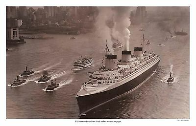 S.S. Normandie in New York Photo Poster  11 x 17