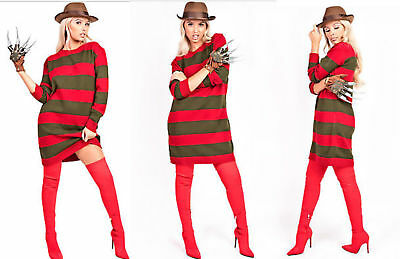 Freddy Krueger Sweater Dress (Ladies Freddy Krueger Stripe Halloween Horror Knitted Jumper Fancy Dress)