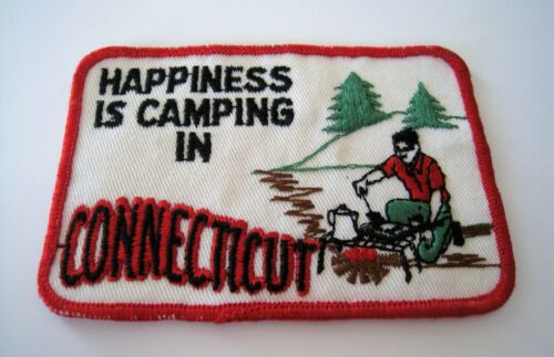 """HAPPINESS IS CAMPING IN CONNECTICUT CT SEW-ON PATCH 4¼"""" x 3"""" CAMPIRE COOKING MAN"""
