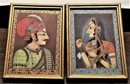 Vintage Man Woman Persian Mughal Middle Eastern Art Print Silk Gold Frame 2