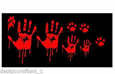 Funny Zombie Anime (Zombie Bloody Hand Family Set Funny Walking Dead Vinyl Decal Sticker Car)