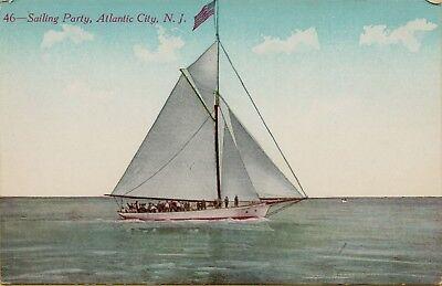 Sail Boat Sailing Party Atlantic City New Jersey NJ Postcard A17 - Party City Nj