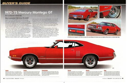 1972-1973 MERCURY MONTEGO GT ~ GREAT 5-PAGE BUYERS GUIDE ARTICLE / AD