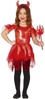 Mädchen Glänzend Teufel Dämon Rot Tutu Halloween Kostüm Kleid Outfit 3-12 (Teufel Mädchen Outfit)