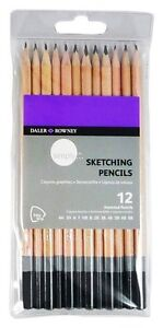12 DALER ROWNEY ARTIST QUALITY SKETCHING GRAPHITE PENCILS DRAWING GRADED 4H - 8B