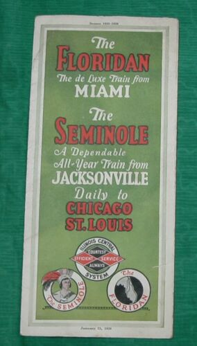 Vintage 1926 Train Timetable Floridan Miami The Seminole Railroad Jacksonville