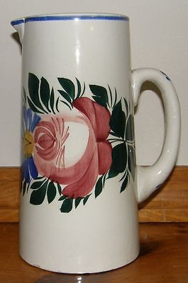 Vintage Czechoslovakia Art Pottery Pitcher Colorful Hand Painted Flowers