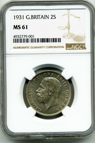 GREAT BRITAIN 1931 FLORIN NGC MS61