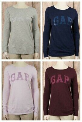 NWT Womens GAP Long Sleeve Glitter Arched Logo T Shirt Choose Size/Color