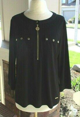 Anne Klein Black Pullover Polyester Stretch Top Gold Zipper & Lion Logo Trim L
