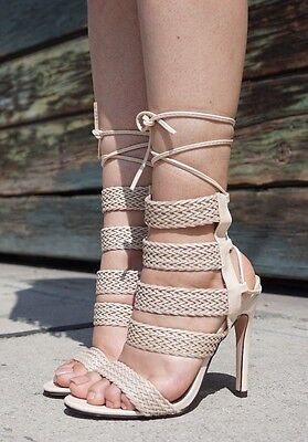 Nude High Cut (NUDE BEIGE LACE UP HIGH HEELS STILETTO FASHION BRAID NEW HOT CUT OUT FALL)