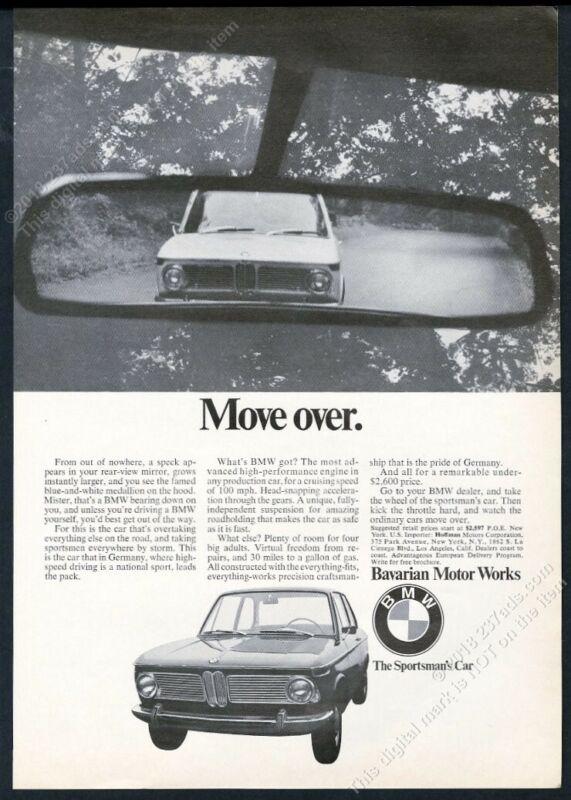 1968 BMW 2002 car photo Move Over vintage print ad