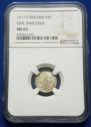 1917-S Finland under Russia Silver 25 Pennia NGC MS65 - A20