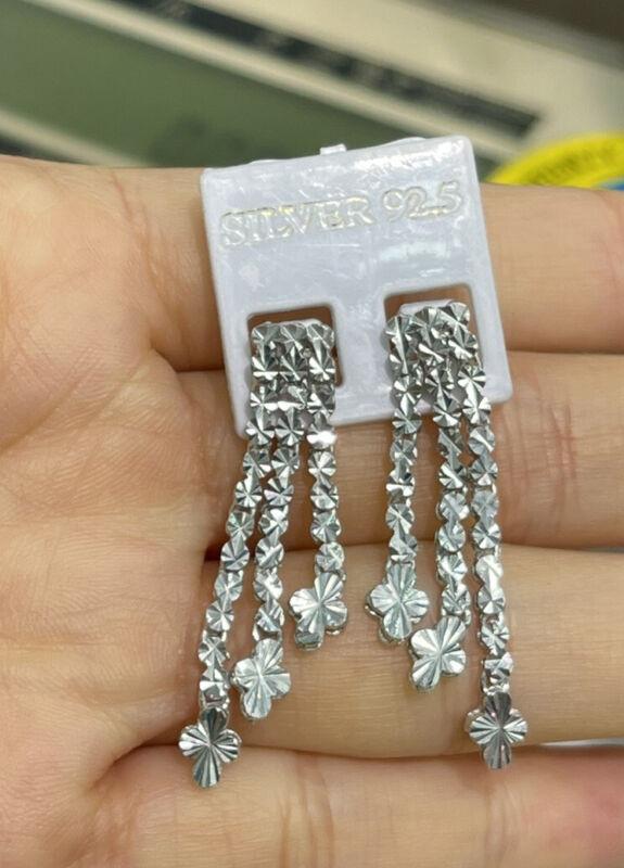 Pure 0.925 Silver Shiny Diamond Cut Dangle Stud Earrings. 5.30 Grams