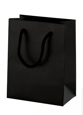 90 BLACK MATT BOUTIQUE PAPER CARRIER BAGS WITH ROPE HANDLES (MEDIUM) 24CM WIDE