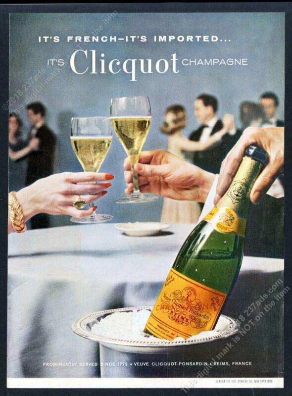 1960 Veuve Clicquot Dry England champagne bottle photo vintage print ad