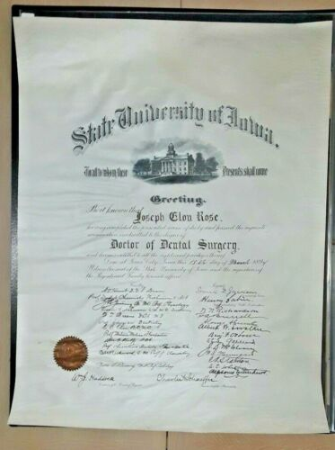Extremely Rare Antique University of Iowa Doctorate Dental Surgery Diploma 1894