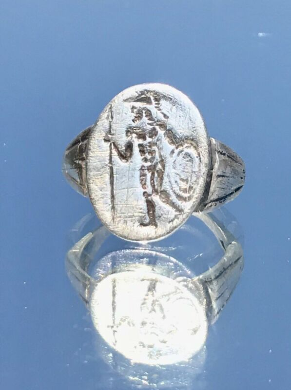 """GOD Of War """"Mars"""" Roman Ancient Silver Ring, US Size 10.5....2-3 cent AD"""
