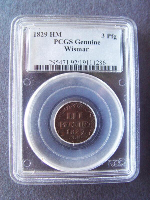1829 GERMANY WISMAR 3 PFENNIG PCGS GENUINE