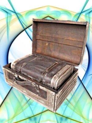 Schmuckschatullen Box Set 2 St. Holz+Leder L.40+45cm Kassette Vintage Ästhetik
