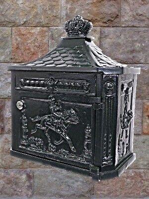 Wand Briefkasten ALU grün ein Geschenk im antiken Stil unzerrottbar Vintage pur