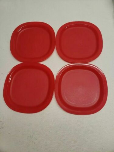 "4 NEW 7.5 "" TUPPERWARE RED PLATES IMPRESSIONS DESSERT CAKE SWEETS SMALL PORTIONS"