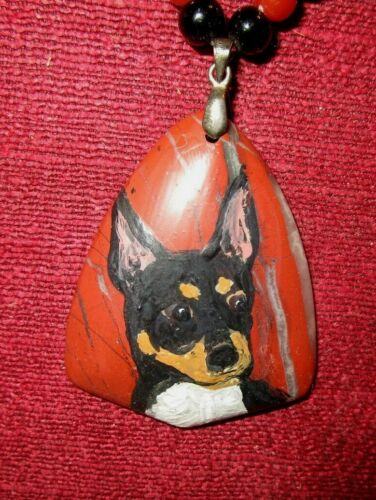 Rat Terrier hand-painted on triangular pendant/bead/necklace