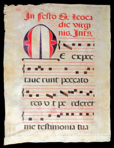 LARGE ILLUMINATED MANUSCRIPT LEAF c. 1520 MUSIC & GREGORIAN CHANT, SPAIN