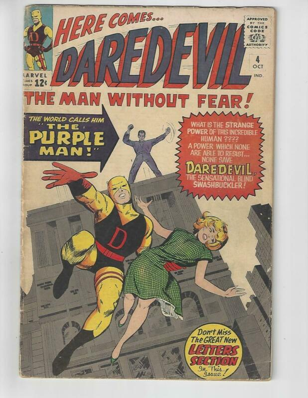 Daredevil #4/Silver Age Marvel Comic Book/1st Purple Man/VG