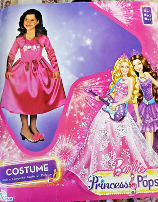 Barbie The Princess & The Popstar Vestito Costume Carnevale 3-5 Anni 104cm - Barbie Popstar Costume