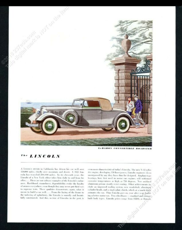 1934 Lincoln LeBaron Convertible Roadster car art BIG vintage print ad