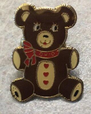 OHIO ~ Brown Teddy Bear Lapel Hat Pin