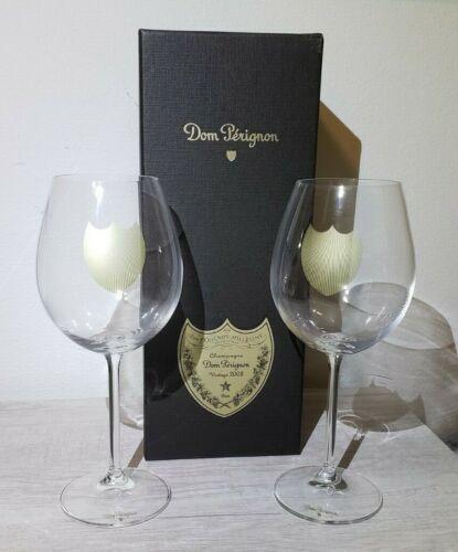 (2) Dom Perignon Crystal Champagne Wine Glasses Champagne Vintage 2008 Empty Box