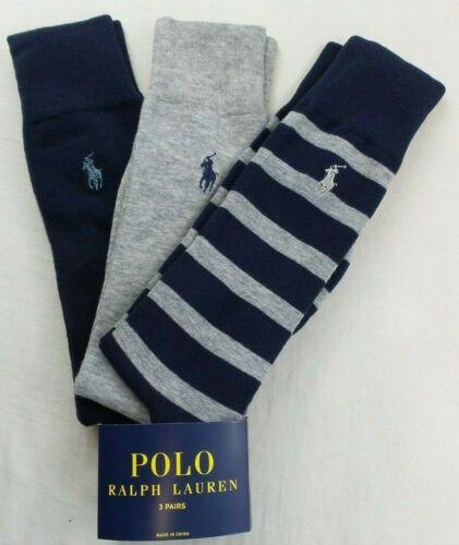 Polo Ralph Lauren Men's Dress Socks 3 Pack L Navy Grey Blue Pony Stripes Solid