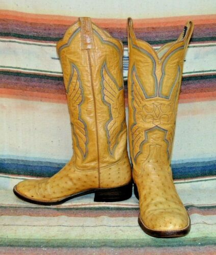 Luskeys, Brown, Full, Quill, /, Smooth, Ostrich, Cowboy, Boots, Mens, 7, D, Womens, 8.5, B, VGC