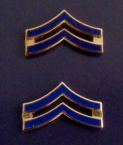 "NEW ENGLAND Corporal CPL Chevron BLUE ENAMEL Gold Pair Collar Pins 3/4"" SMALL"