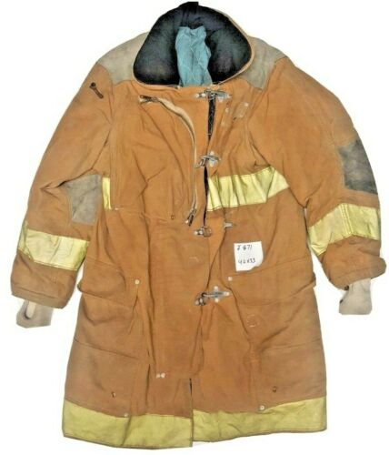 42x33 Janesville Lion Firefighter Brown Turnout Jacket Coat w/ Yellow Tape J871