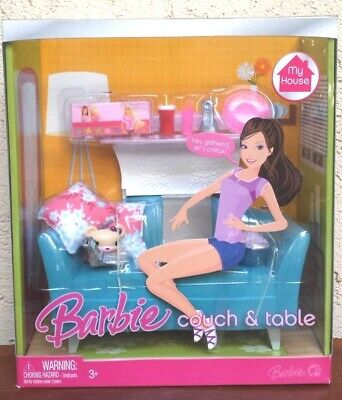 Couch & Table Set for Barbie Doll My House Furniture Dream House Happy Family